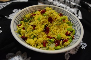 Dilled rice with edamame and cranberries
